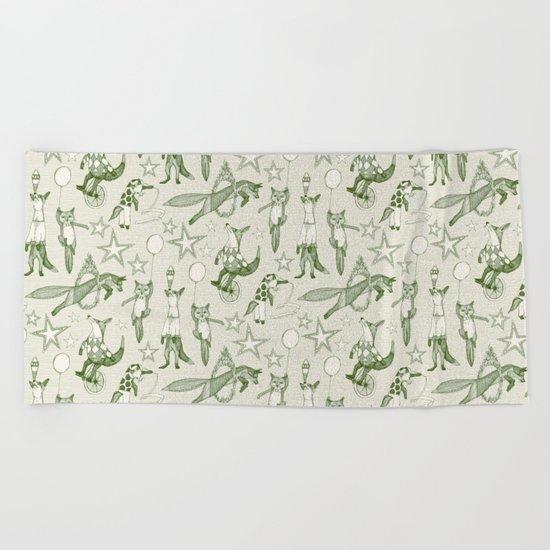 foxy circus green ivory Beach Towel