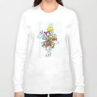 cthulu Long Sleeve T-shirts featuring Notebook World by Duru Eksioglu