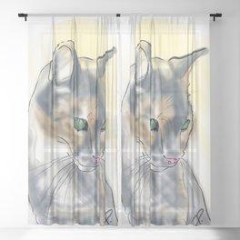 Green Eyed Cat Sheer Curtain