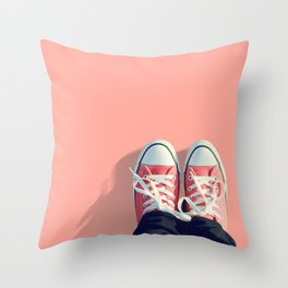 Pink sneakers on a peach-pink colored background. Ready for a walk? Throw Pillow