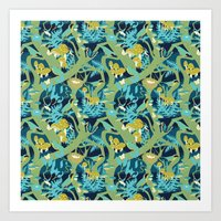 North American Forest Pattern (Greens) Art Print