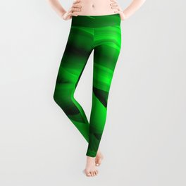 Psychedelic foil green landscap with stylised mountains, sea and Sun. Leggings