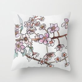 Watercolor pink flowers Throw Pillow