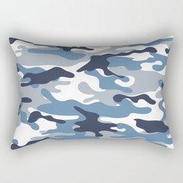 Blue and White Camo Rectangular Pillow