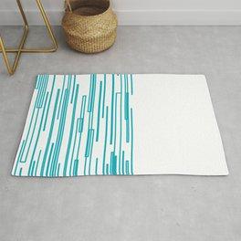 blue design blocks on white Rug