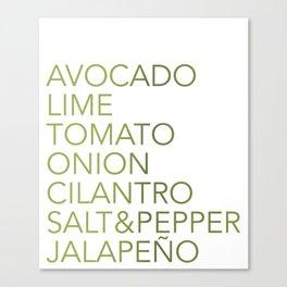 Guacamole Recipe Typography Canvas Print