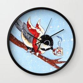 Hot Chocolate Chickadee Wall Clock