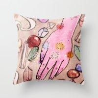 chakra Throw Pillows featuring Hand Chakra by Danielle Feigenbaum