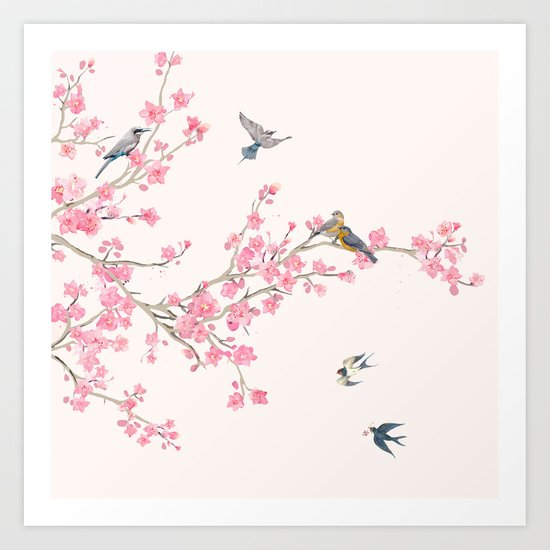Birds and cherry blossoms by nadja1