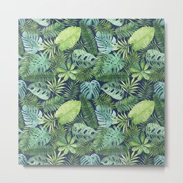 Tropical Branches on Dark Pattern 08 Metal Print