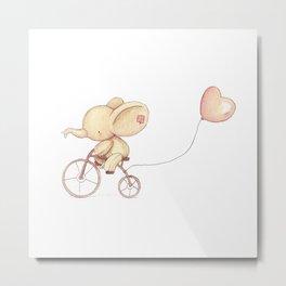 Elephant riding his bike Metal Print