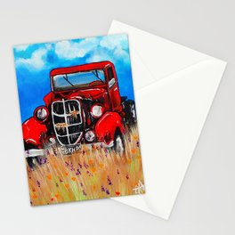 Uncle John's Old Truck Grandpa Red Work Truck Vintage Antique Farm Ranch Farmer Rancher Field Stationery Cards