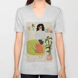 Cats And Books Unisex V-Neck