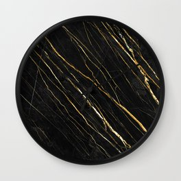Cracked Gold Marble Wall Clock