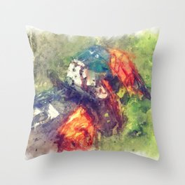 The Starting Gate - Motocross Champion Rider Prepares to Race Throw Pillow