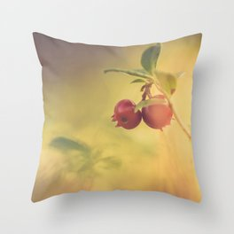 Macro shot of cowberry growing in forest Throw Pillow