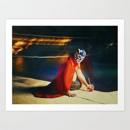mexican luchador by the pool Art Print