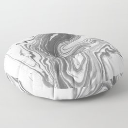 Katsuro - spilled ink marble paper map topography painting black and white minimal ocean swirl  Floor Pillow