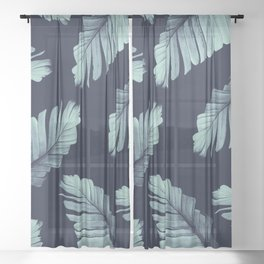 Navy Blue Banana Leaves Dream #2 #tropical #decor #art #society6 Sheer Curtain
