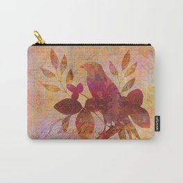 Bird and Leaf Illustration in warm colors Carry-All Pouch