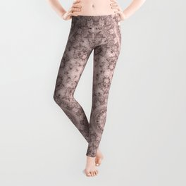 Pink marble kaleidoscope, ornament elements print Leggings