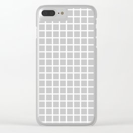 Grid (White & Gray Pattern) Clear iPhone Case