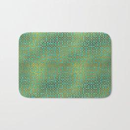 Golden Embossed Celtic Pattern on teal wood Bath Mat