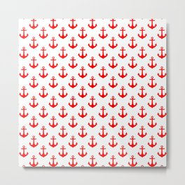 Anchors (Red & White Pattern) Metal Print