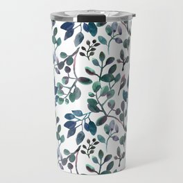 Jade and Succulent Watercolor Plant Pattern Travel Mug