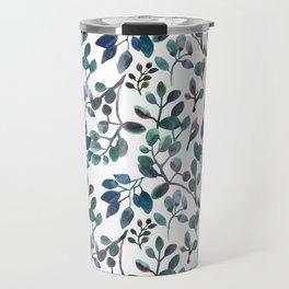 Jade and Succulent Watercolor Plant Pattern Travel Mug