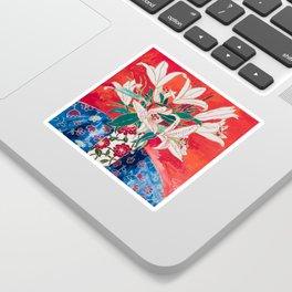 Blush Lily Bouquet on Orange Sticker