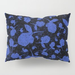 Dark Blue Floral Blooms on Black Pillow Sham