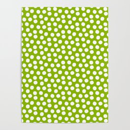 White Polka Dots on Fresh Spring Green - Mix & Match with Simplicty of life Poster