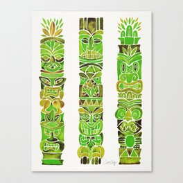 Tiki Totems – Green Canvas Print