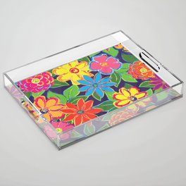 Painted Blooms Acrylic Tray
