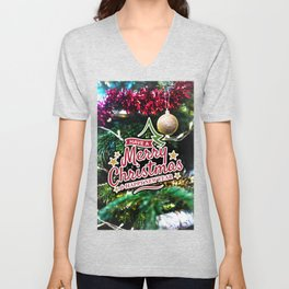 Have a Merry Christmas and Happy New Year Tree photography Unisex V-Neck