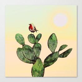 Cactus and a Bird Canvas Print