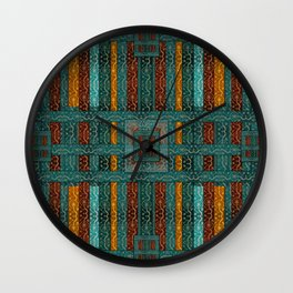 """Blue vintage textile patches"" Wall Clock"