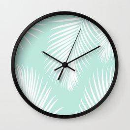 Mint Tropical Pattern Wall Clock