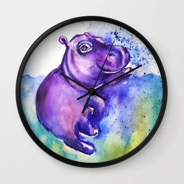 Fiona the Hippo - Splashing around Wall Clock