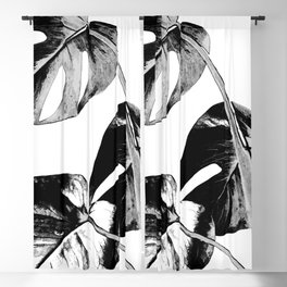 Black monstera leaves watercolor Blackout Curtain