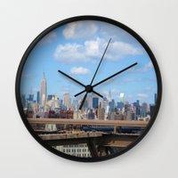 manhattan Wall Clocks featuring Manhattan by Sadie Mae