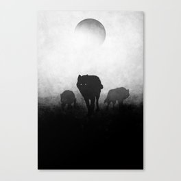 Black and White Wolfpack Canvas Print