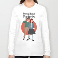 mulder Long Sleeve T-shirts featuring Scully and Mulder Mystery Stories  by Celeste Pille
