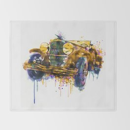 Oldtimer Automobile Watercolor Painting Throw Blanket