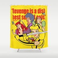 kill bill Shower Curtains featuring Pop Art Mashup: Kill Bill - Cinderella by Thomas Bergmann