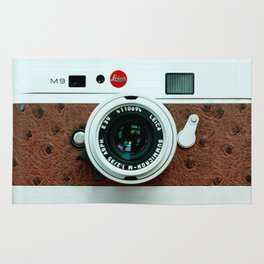 Classic retro White with Brown Leather vintage camera iPhone 4 4s 5 5c, ipod, ipad case Rug
