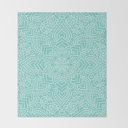 Turquoise Mandala Throw Blanket