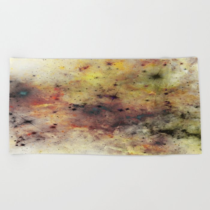 Into The Unknown - Abstract, rustic space style painting Beach Towel