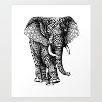 ornate elephant Art Prints featuring Ornate Elephant v.2 by BIOWORKZ
